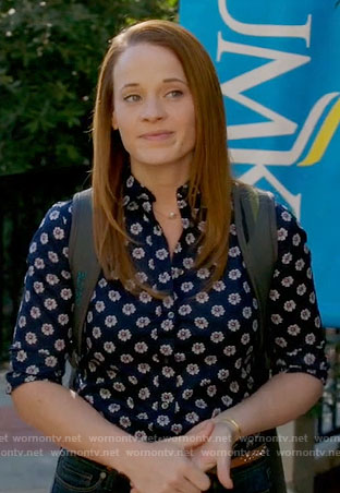 Daphne's navy daisy print shirt on Switched at Birth