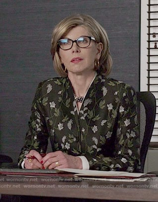 Diane's vine print jacket on The Good Fight