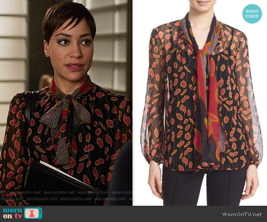 Diane von Furstenberg 'Havanah' Print Silk Tie Neck Blouse worn by Lucca Quinn (Cush Jumbo) on The Good Fight