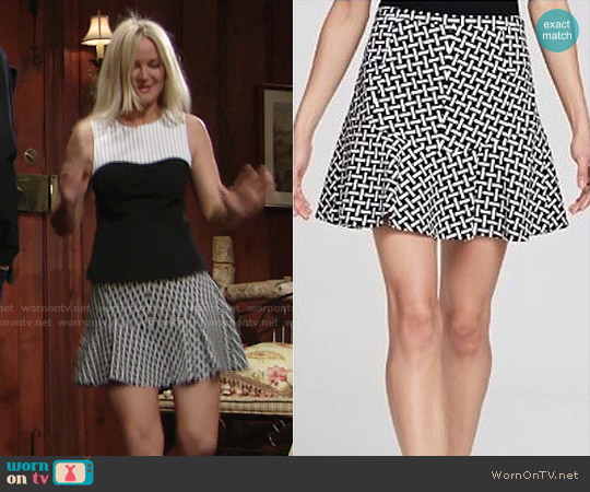 Diane von Furstenberg Geometric Print Flare Skirt worn by Sharon Collins on The Young & the Restless