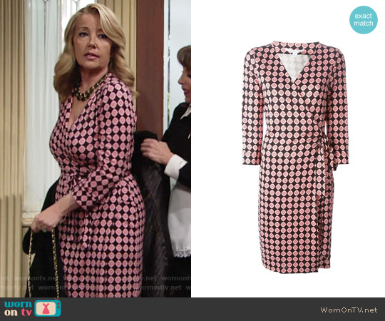 Diane von Furstenberg Julian Dress in Vintage Print worn by Nikki Reed Newman (Melody Thomas-Scott) on The Young & the Restless