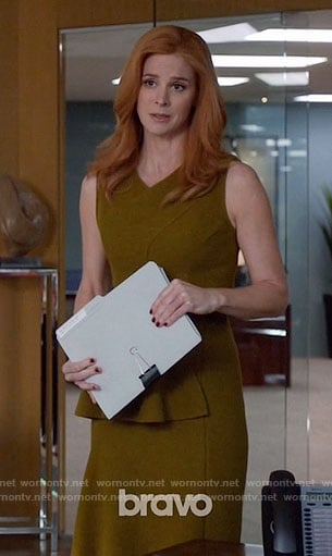 Donna's green ruffled dress on Suits