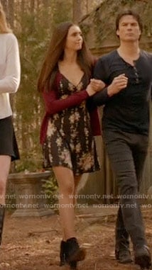 Elena's black floral dress on The Vampire Diaries