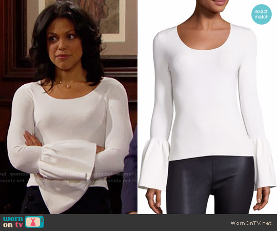 Elizabeth and James Willow Bell Sleeve Top worn by Karla Mosley on The Bold & the Beautiful