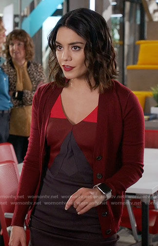 Emily's red colorblock dress on Powerless