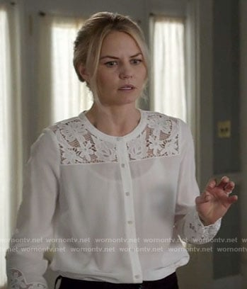 Emma's white lace blouse on Once Upon a Time