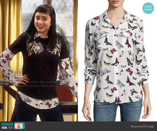 Equipment Butterfly Print Signature Blouse worn by  Molly Ephraim on Last Man Standing