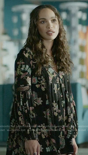 Erica's black printed babydoll dress on Last Man on Earth