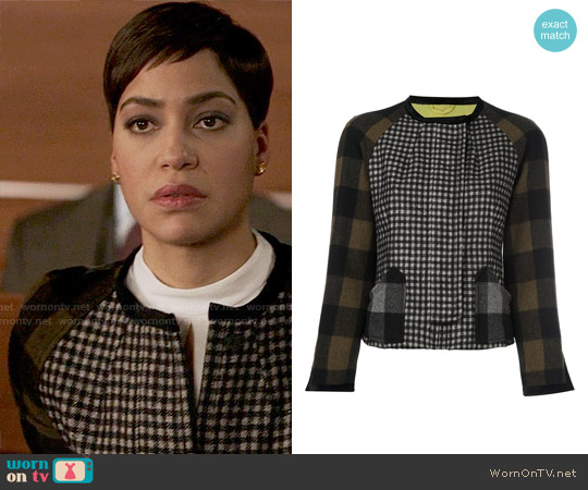 Etro Gingham Check Jacket worn by Cush Jumbo on The Good Fight