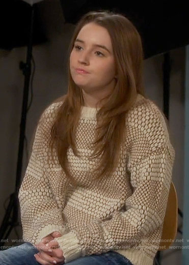 Eve's cream honeycomb striped sweater on Last Man Standing
