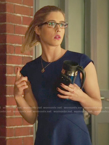 Felicity's blue cap-sleeve dress on Arrow