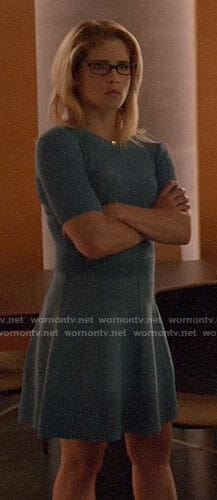 Felicity's blue ribbed top and skirt on Arrow