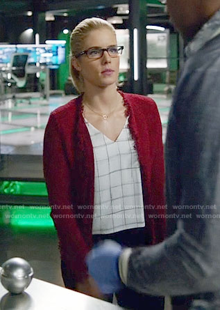Felicity's white checked v-neck top and red tweed jacket on Arrow
