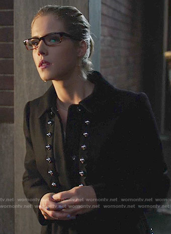 Felicity's black studded coat on Arrow