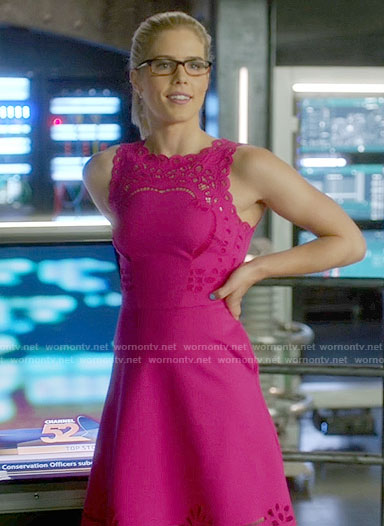 Felicity's pink lace a-line dress on Arrow