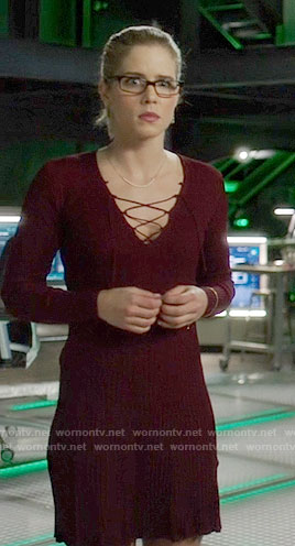 Felicity's burgundy lace-up dress on Arrow