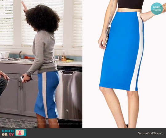 Forever 21 Athletic-Inspired Pencil Skirt worn by Zoey Johnson (Yara Shahidi) on Blackish