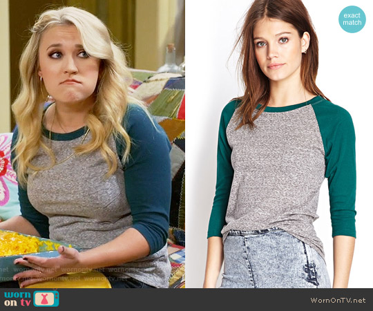 Forever 21 Burnout Baseball Tee worn by Emily Osment on Young & Hungry