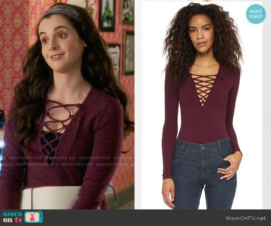 Free People Lace Up Layering Top worn by Vanessa Marano on Switched at Birth