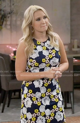 Gabi's blue and yellow floral lace dress on Young and Hungry