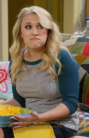 Gabi's green and grey baseball tee on Young and Hungry