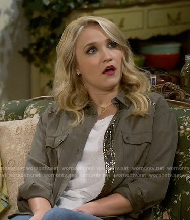 Gabi's green sequined button down shirt on Young and Hungry