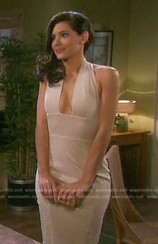 Gabi's suede halterneck dress on Days of our Lives