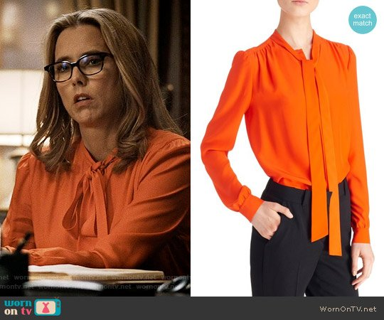 Givenchy Tie Neck Silk Blouse worn by Téa Leoni on Madam Secretary