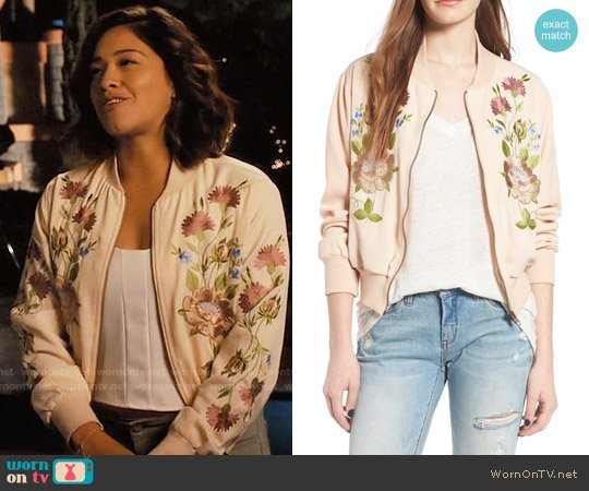Glamorous Floral Embroidered Bomber Jacket worn by Jane Villanueva (Gina Rodriguez) on Jane the Virgin