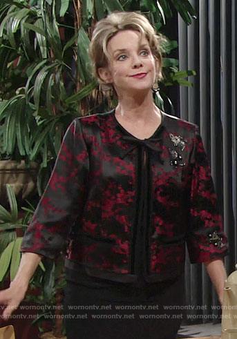 Gloria's black and red floral jacket on The Young and the Restless