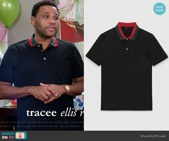 Gucci Cotton Polo with Web Collar worn by Anthony Anderson on Blackish