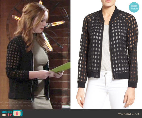 Halogen Sheer Grid Bomber Jacket worn by Camryn Grimes on The Young & the Restless