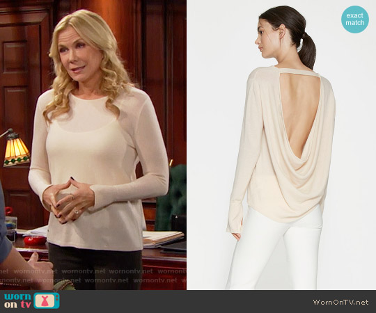 Halston Heritage Cowl Back Cashmere Sweater in Champagne worn by Katherine Kelly Lang on The Bold & the Beautiful