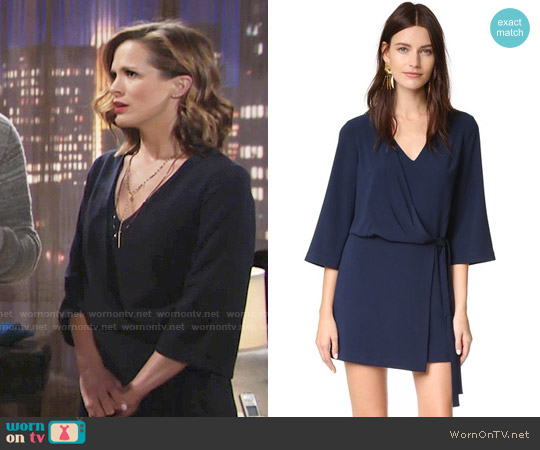 Halston Heritage V Neck Dress with Overlay & Ties worn by Melissa Claire Egan on The Young & the Restless