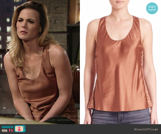 Helmut Lang Silk Tank Top worn by Gina Tognoni on The Young & the Restless