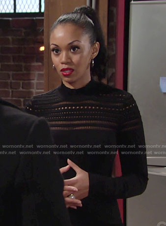 Hilary's black pointelle dress on The Young and the Restless