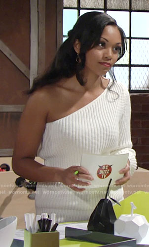 Hilary's white one-shoulder sweater on The Young and the Restless
