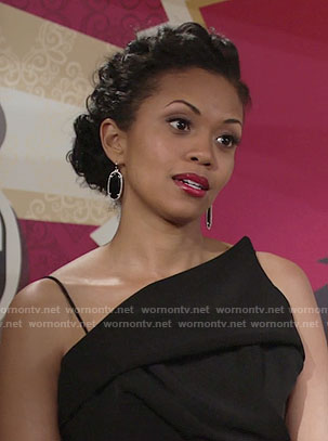 Hilary's black asymmetrical dress on The Young and the Restless
