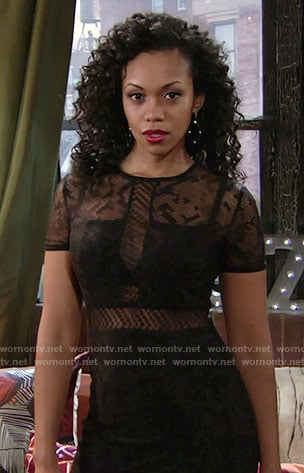 Hilary's black illusion dress on The Young and the Restless