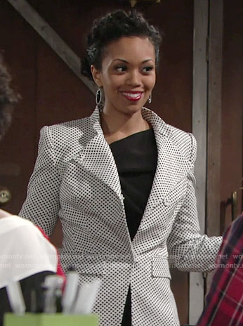 Hilary's polka dot blazer on The Young and the Restless