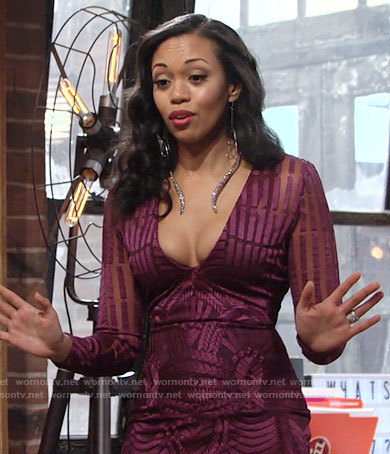 Hilary's purple v-neck long sleeve dress on The Young and the Restless