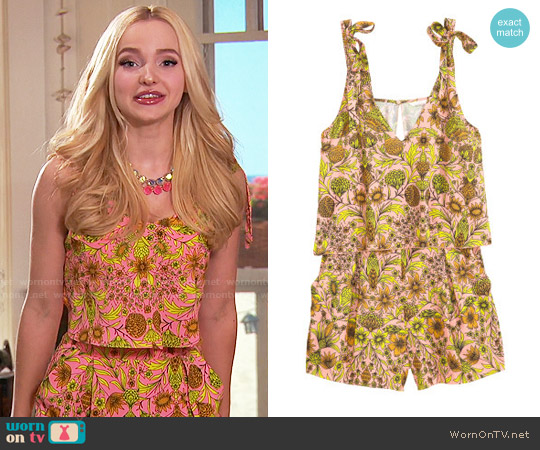 H&M V-neck Jumpsuit in Light Pink / Floral worn by Dove Cameron on Liv & Maddie