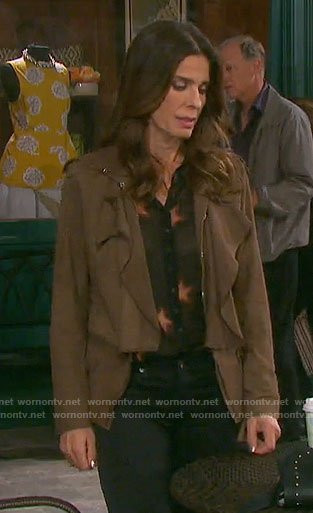Hope's black star print blouse and ruffled suede jacket on Days of our Lives
