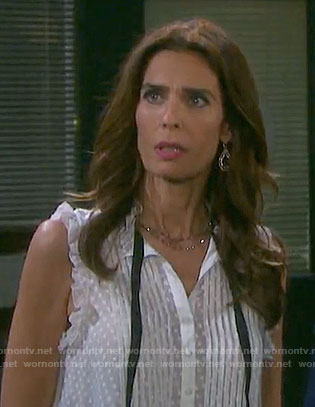 Hope's white floral dotted top with tie neck and ruffle trim on Days of our Lives