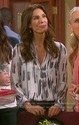 Hope's white printed v-neck blouse on Days of our Lives