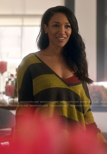 Iris's yellow and black striped sweater on The Flash
