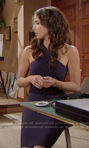 Ivy's navy cross neck dress on The Bold and the Beautiful