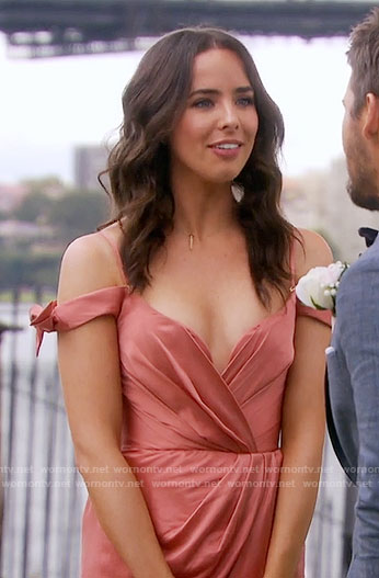 Ivy's salmon dress at Steffy's wedding on The Bold and the Beautiful