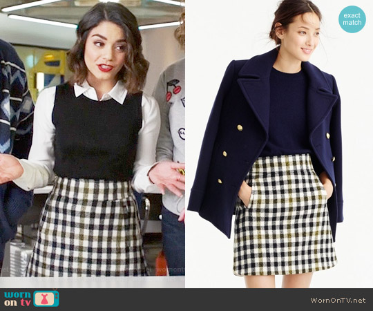 J. Crew Mini Skirt in Oxford Check worn by Vanessa Hudgens on Powerless