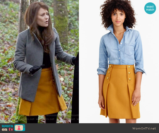 J. Crew Sailor Skirt in Double Serge Wool worn by Belle (Emilie de Ravin) on OUAT